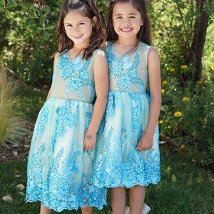 Gorgeous Girls Custom Blue Floral Lace Dress
